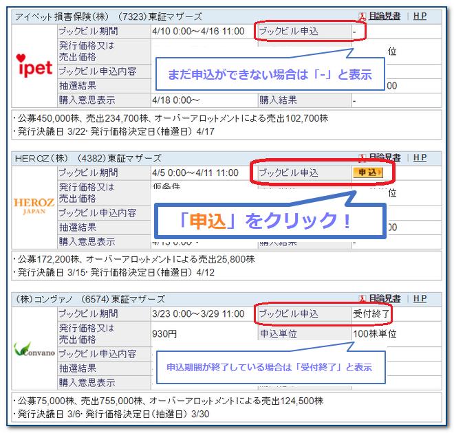 【手順⑤】申込むIPO銘柄を選択