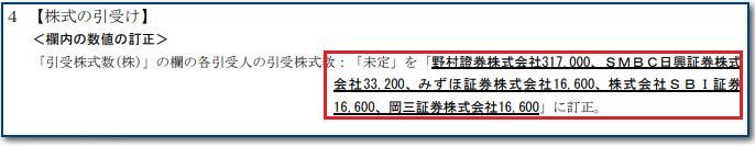 目論見書訂正事項分の「株式割当数記載箇所」」
