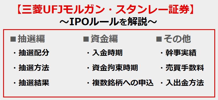 三菱UFJモルガン・スタンレー証券のIPOルール