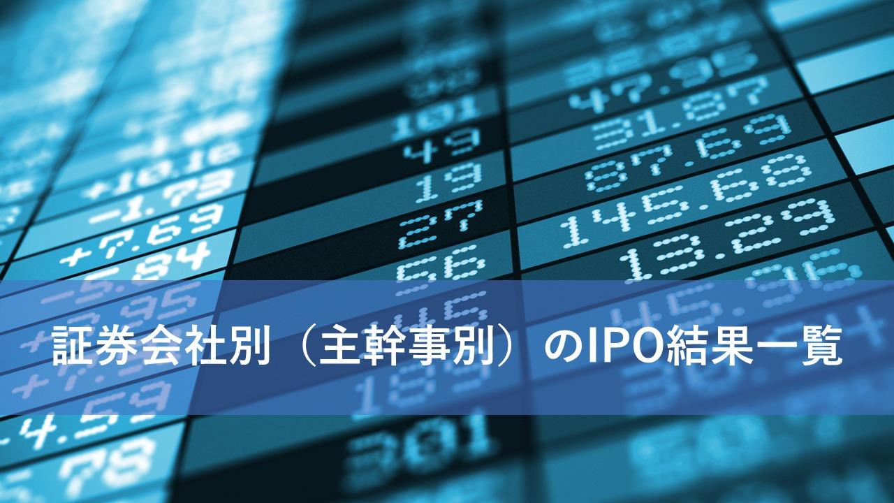 証券会社別のIPO