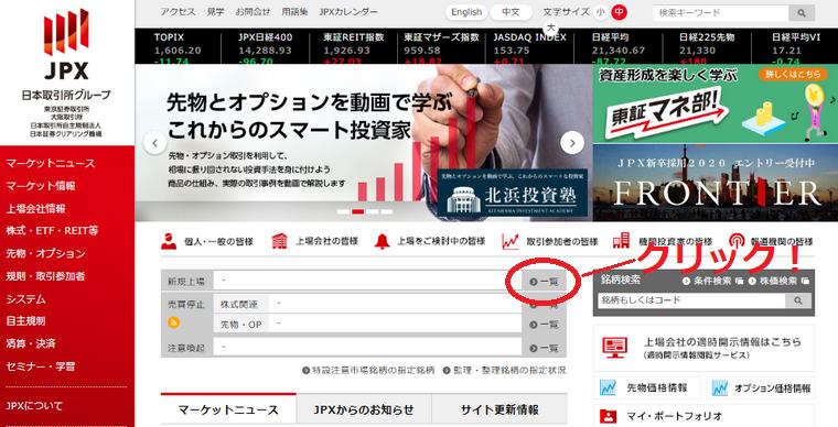 東京証券取引所のトップページ